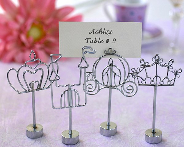 Silver Silhouette Placecard Holders - Set of 4 - Happily Ever After Theme