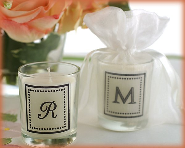 """""""Our New Monogram"""" Monogrammed Votive Candle in Sheer Organza Bag"""