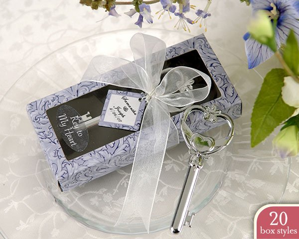 """""""Key to My Heart"""" Bottle Opener in Personality Box ( 20 styles/colors) (Set of 4)"""