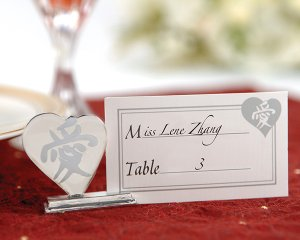 Asian Love Placecard Holders with Matching Place Cards (Set of 4)
