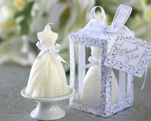 """Wedding Gown Candle in Designer """"Window Shop"""" Gift Box (Set of 4)"""