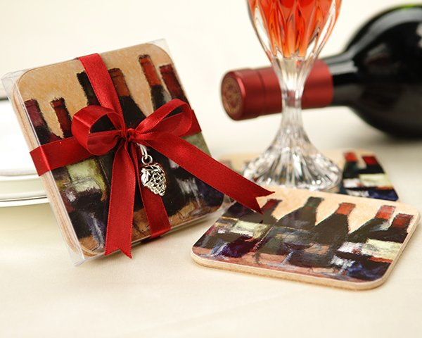 """Vino!"" Original Art Coaster Set with Silver Grape Charm"