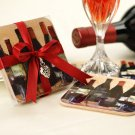 """Vino!"" Original Art Coaster Set with Silver Grape Charm"