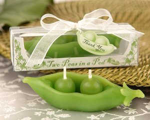 """Two Peas in a Pod"" Candle in Ivy Print Gift Box (Set of 4)"