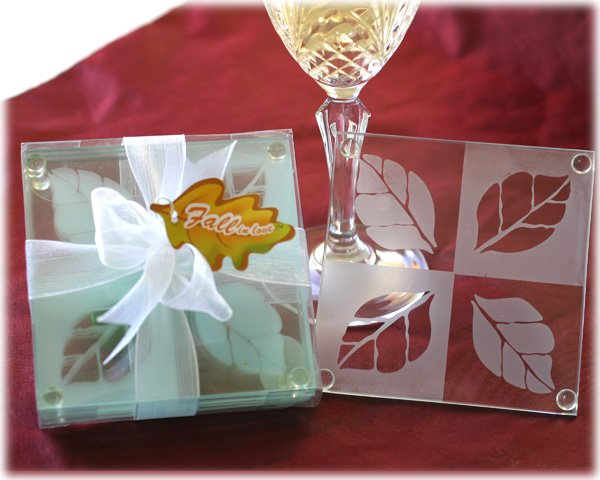 """""""Fall in Love"""" Frosted Leaf Design Glass Coaster Set"""