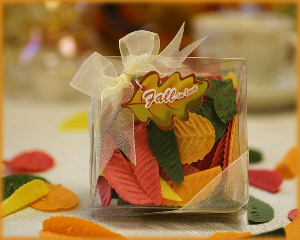 """Fall in Love"" Leaf Soap Petals in Clear Box with Ribbon and Tag"