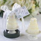 Wedding Cake Candle on Elegant Porcelain Pedestal in Showcase Gift Box