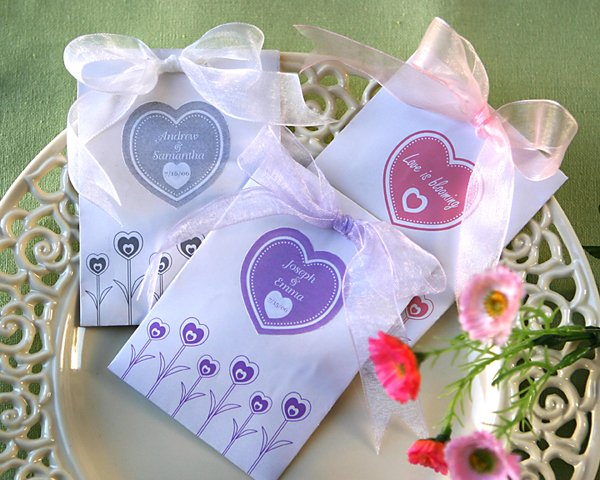 """Love is Blooming"" Wildflower Seed Favor Kits (Set of 12)"