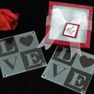 Love Glass Coasters in Personality Box ( 20 styles/colors) (Sold as 4 sets of 2 coasters)