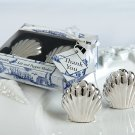 Seaside Shells Salt/ Pepper Shakers in Seaside Toile Gift Box