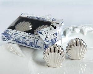 Seaside Shells Salt/ Pepper Shakers in Seaside Toile Gift Box