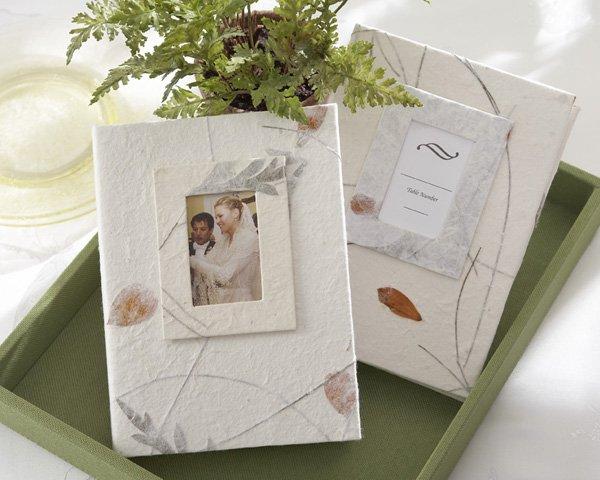 """Memories"" Guest Photo Album Favors - Pressed Leaves"