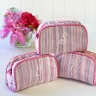 Shimmer & Stripes - Monogrammed Cosmetic Bag