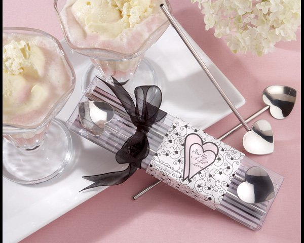 """Stir Up A Lil Love"" Silver Heart Straw Stirrers, Set of Two"