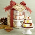 """Autumn Elegance"" Wedding Cake Candle with Handpainted Leaves on Porcelain Pedestal Cake Plate"
