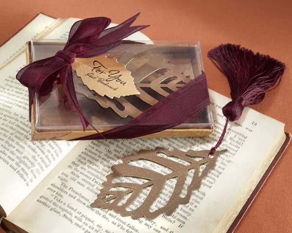 """Turning Leaves"" Bookmark with Burgundy Silk Tassel"