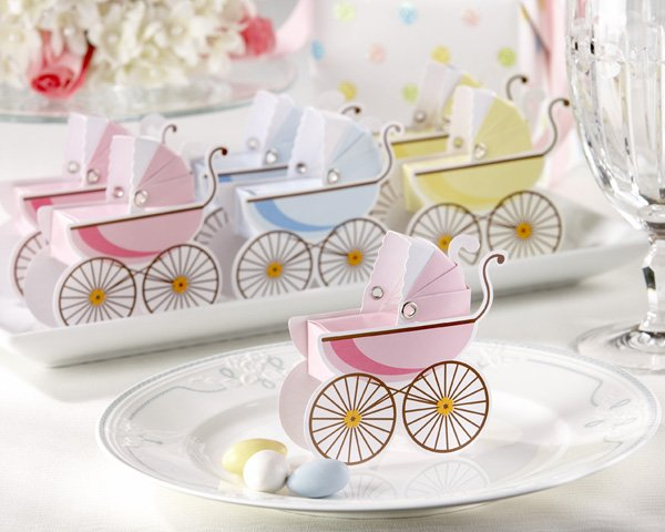Classic Pram Favor Boxes with Unique Expandable Bonnets (Set of 12)