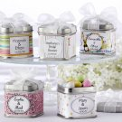 """Unexpected Treasures!"" Favor Tin with Pre-Tied Organza Bow & 40 Custom Designer Labels (Set of 12)"