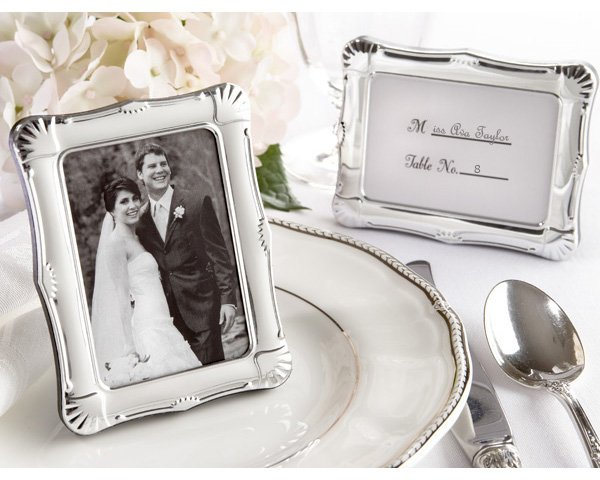 """""""Shining Moments"""" Scalloped Silver-tone Photo Frame/Place Card Holder"""