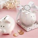 """Li'l Saver Favor"" Ceramic Mini-Piggy Bank in Gift Box with Polka-Dot Bow"