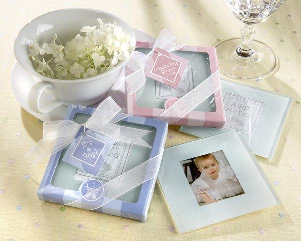 """New Beginnings"" Glass Photo Coasters in Charming Pram Gift Box"