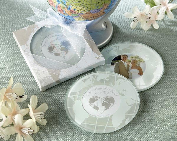 """You Mean the World to Me"" Frosted-Glass Photo Coasters"