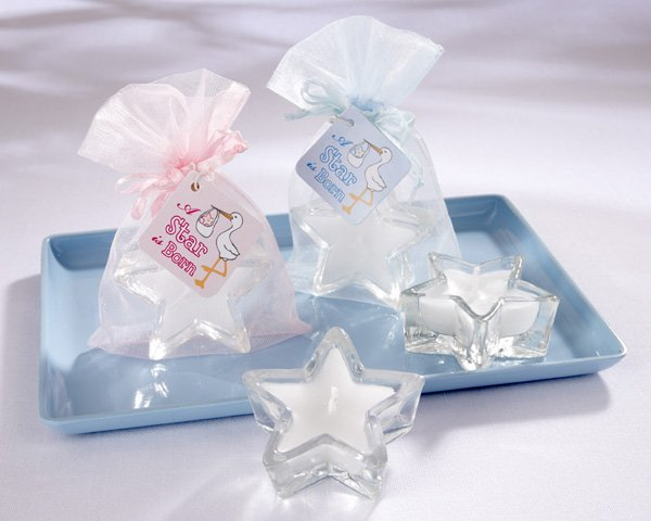 """A Star is Born"" Star-Shaped-Glass Votives in Pink or Blue Sheer Organza Pouch with Satin Drawstring"