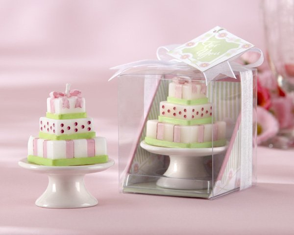 """Buttercream Dreams"" Cake Candle on Porcelain Pedestal Cake Plate(Set of 4)"