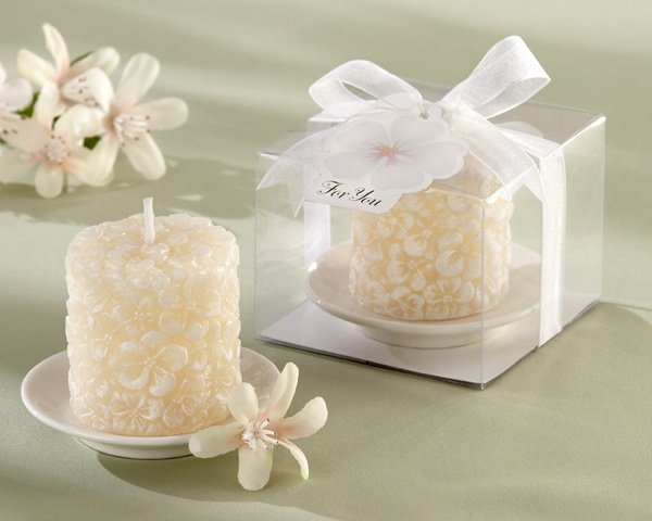 """Plumeria"" Floral-Scented Candle with Ceramic Candle Holder (Set of 4)"
