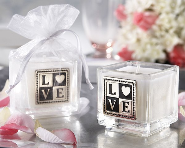 """""""L-O-V-E"""" Engraved and Scented Square Votive Candle (Set of 4)"""