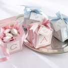 Classic Baby Blocks Favor Boxes with Imprinted Ribbon (Pink or Blue/Set of 24)