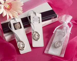 """""""Sweet Sixteen"""" Leather Photo Bookmark in Sheer Organza Pouch"""