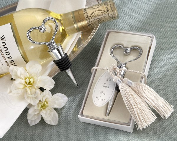"""""""We Tied the Knot"""" Elegant Chrome Braided-Heart Bottle Stopper with Tassels and Pearlized Tag"""