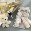 """We Tied the Knot"" Elegant Chrome Braided-Heart Bottle Stopper with Tassels and Pearlized Tag"