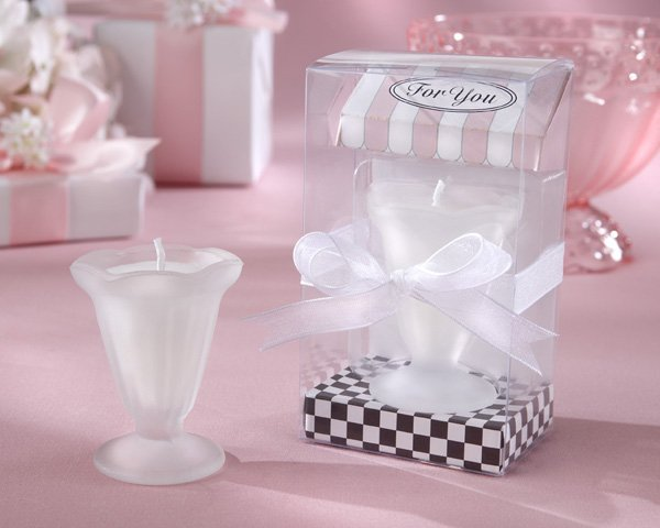 """""""Sweet Treats"""" Glass Sundae Candle in Ice Cream Parlor Gift Box (Set of Four)"""