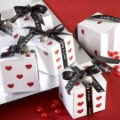 """Lucky in Love"" Dice Favor Boxes with Imprinted Ribbon and Heart Charm (Set of 24)"