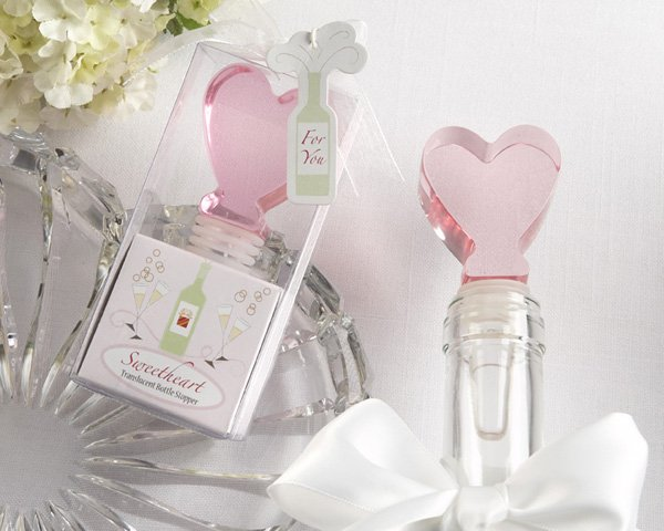 """Sweetheart"" Translucent Pink Heart Bottle Stopper"
