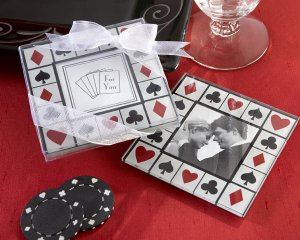 """Perfectly Suited!"" Las Vegas-Themed Glass Photo Coasters (Set of Two)"
