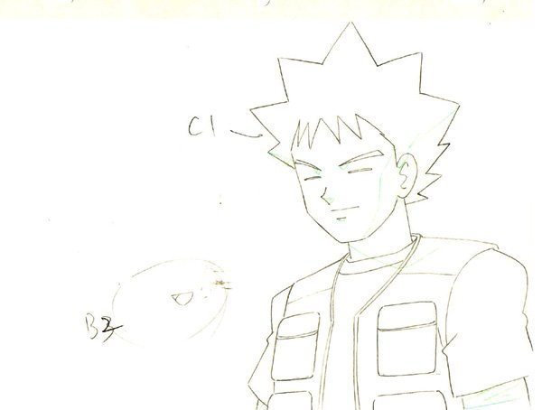 Brock Smiling Pokemon Production Sketch