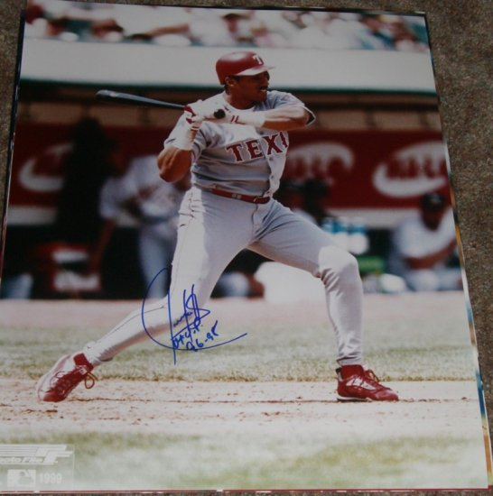 JUAN GONZALEZ SIGNED RANGERS 16X20 PHOTO PIC PROOF SIGNING