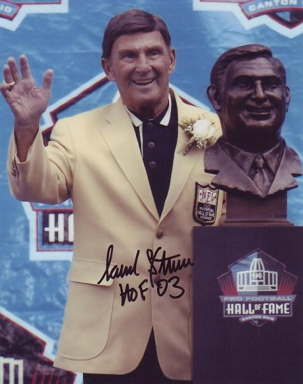 HANK STRAM CHIEFS SIGNED HALL OF FAME 8X10 PHOTO