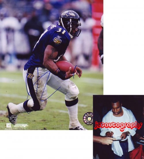 JAMAL LEWIS BROWNS SIGNED RAVENS 8X10 PHOTO PIC PROOF SIGNING