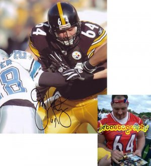 JEFF HARTINGS SIGNED STEELERS 8X10 PHOTO PIC PROOF SIGNING
