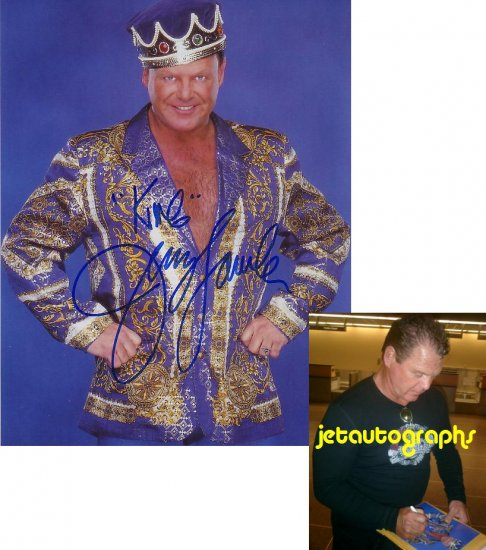 JERRY THE KING LAWLER SIGNED WWE 8X10 PHOTO PIC PROOF SIGNING