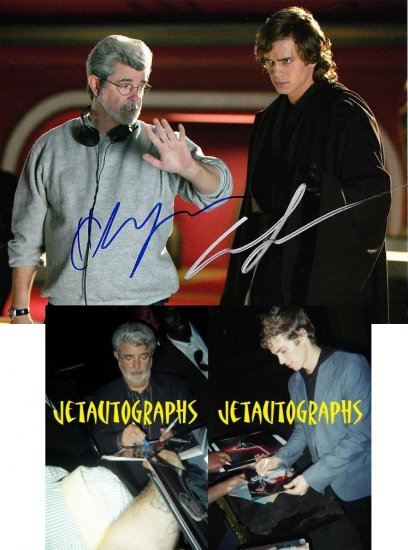 HAYDEN CHRISTENSEN GEORGE LUCAS SIGNED STAR WARS 8X10 PHOTO PIC PROOF SIGNING
