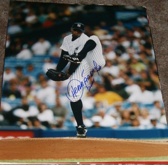 ORLANDO HERNANDEZ SIGNED YANKEES 16X20 PHOTO PIC PROOF SIGNING