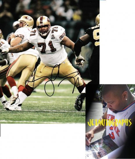 LARRY ALLEN SIGNED 49ERS 8X10 PHOTO PIC PROOF SIGNING