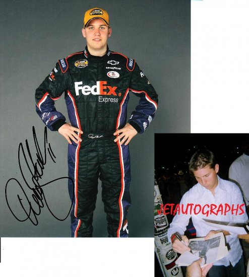 DENNY HAMLIN SIGNED NASCAR 8X10 PHOTO PIC PROOF SIGNING