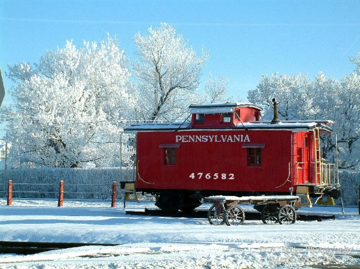 A rare sight in PA....heavy Hoar Frost on the caboose