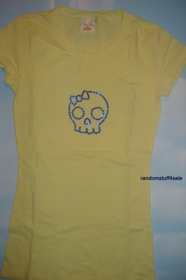 Skull w/ Bow Yellow T-shirt with Sapphire Blue Swarovski Crystal